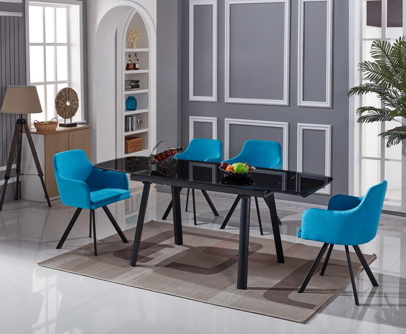 Set masa extensibila din sticla si metal Soranda Black + 4 scaune Yasmin Blue L140-200xl80xH76 cm