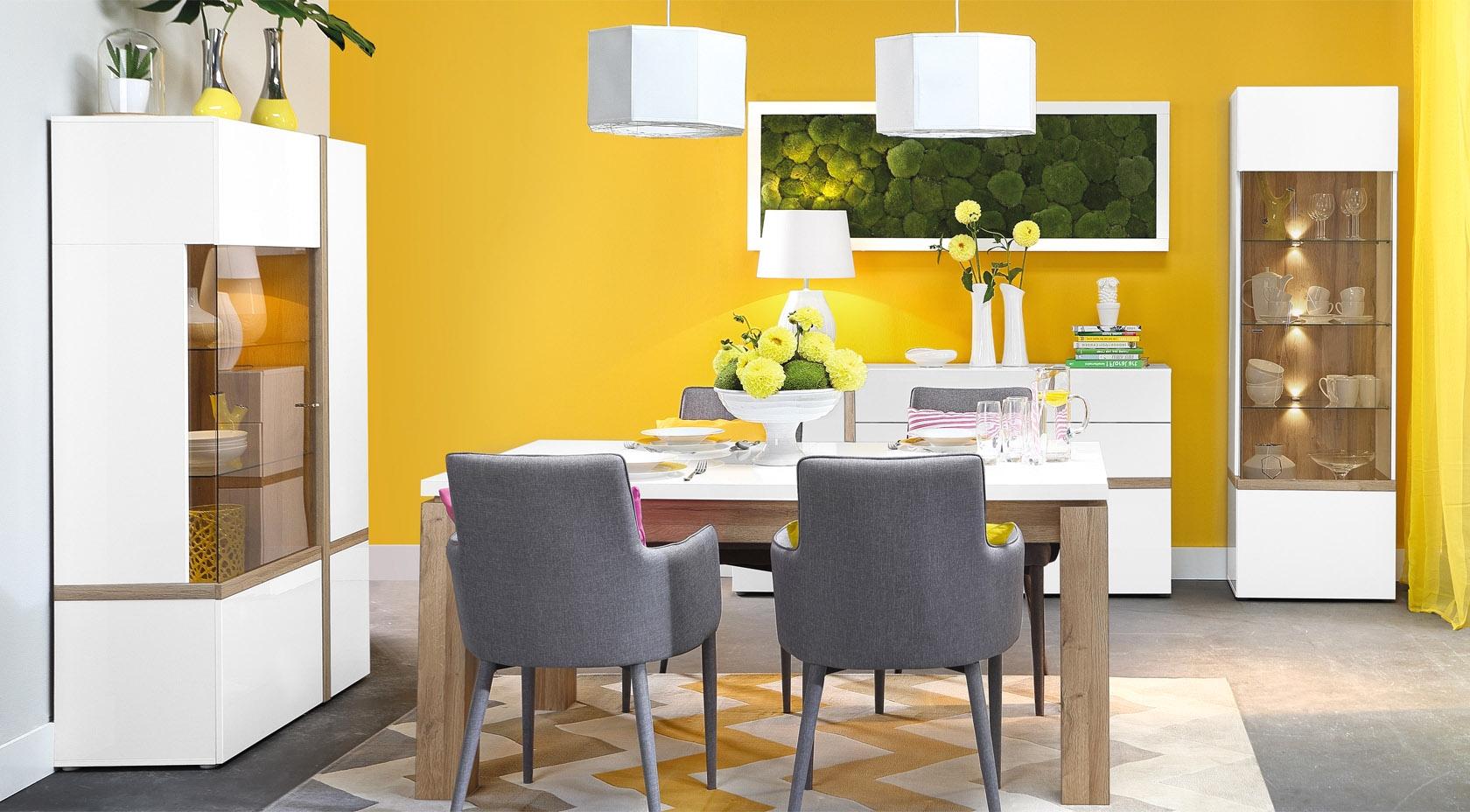 Set de mobila dining 4 piese din MDF Blanka Oak / White