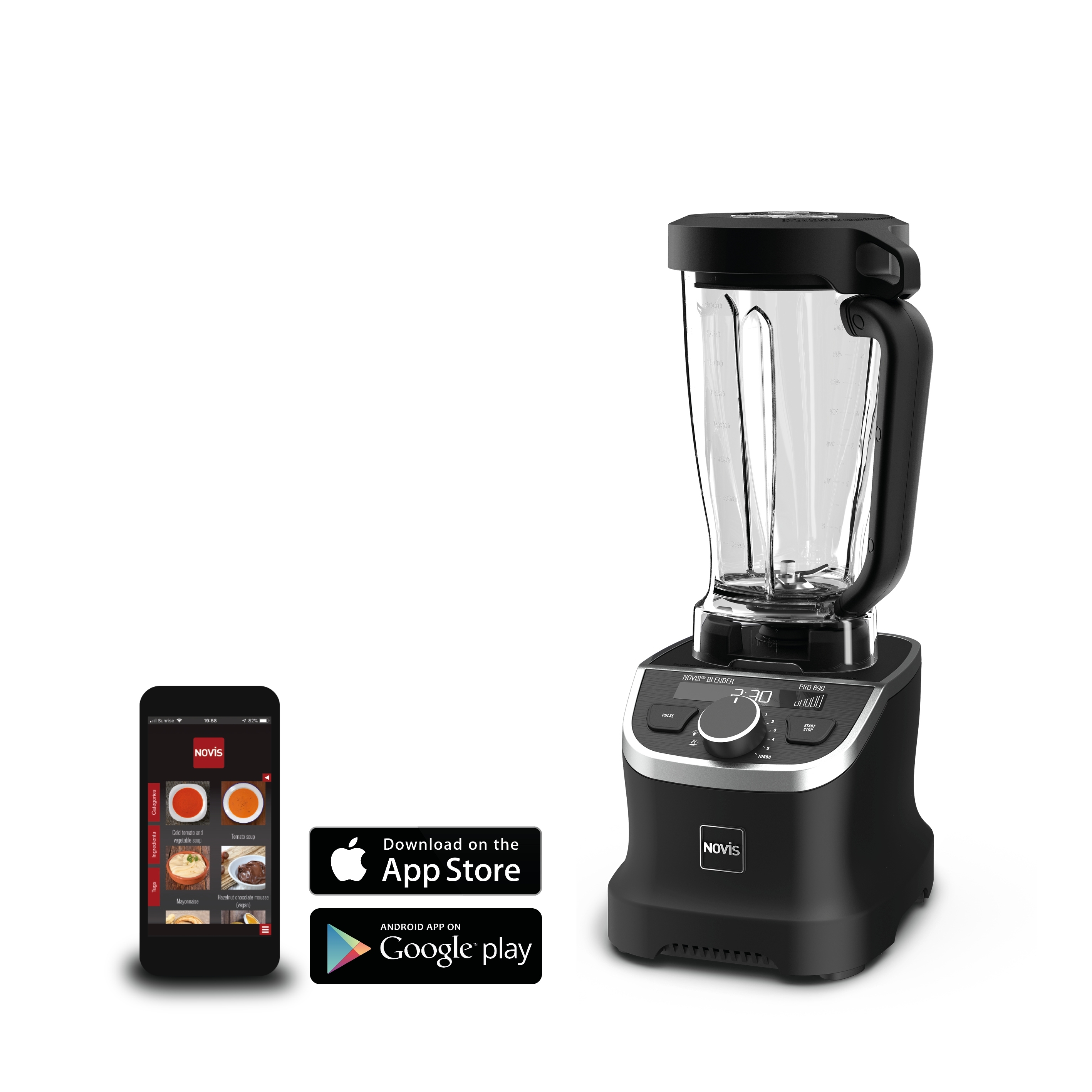 Blender Multifunctional Recipient Novis Problender Negru Matt