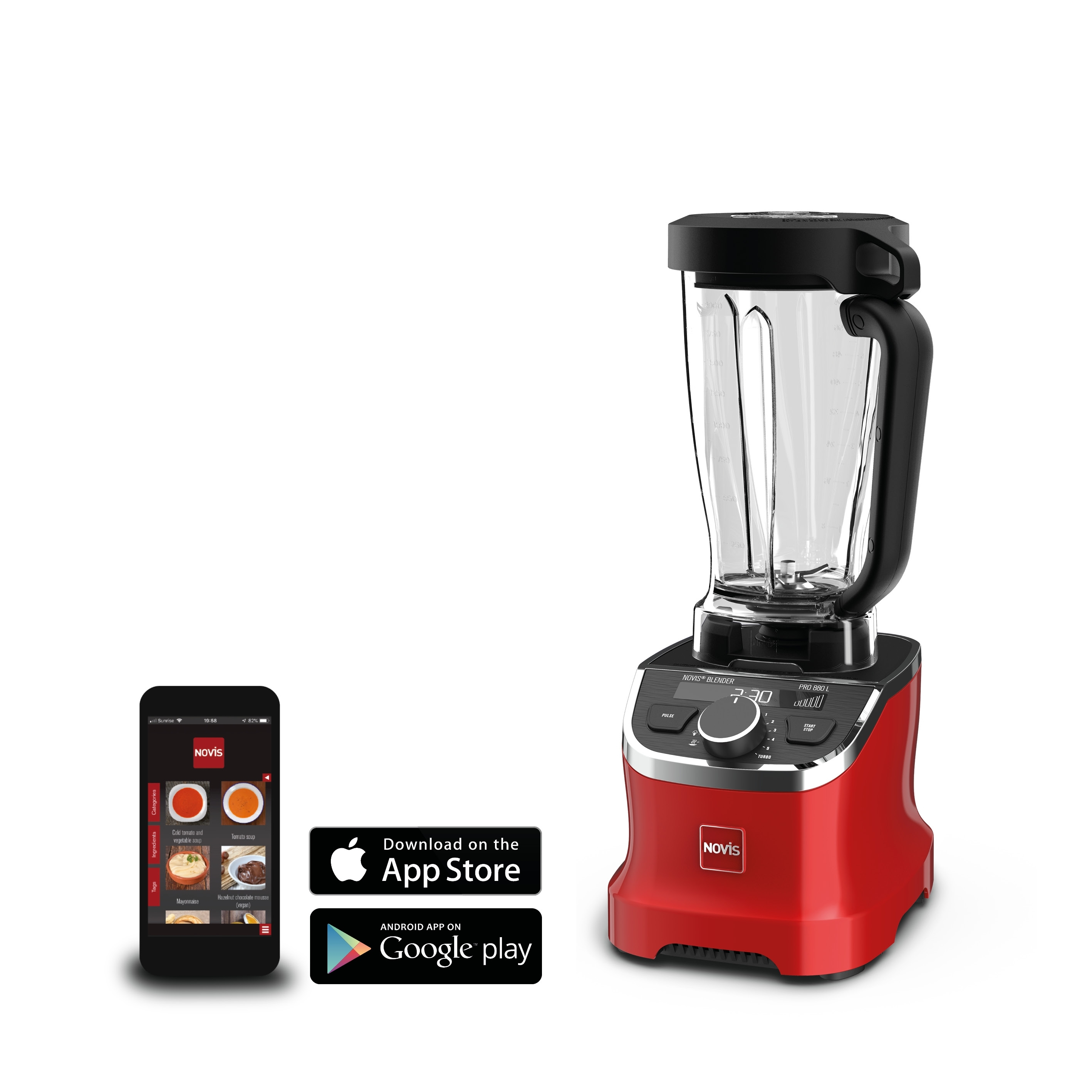 Blender Multifunctional Recipient Novis Problender Rosu