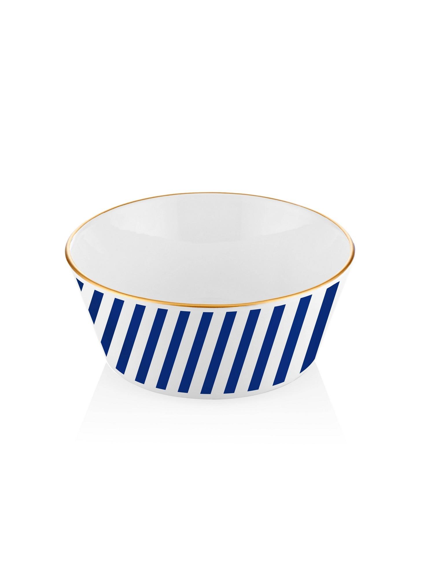 Bol pentru salata, din ceramica, Lagoon Alb / Albastru, Ø25xH5 cm poza