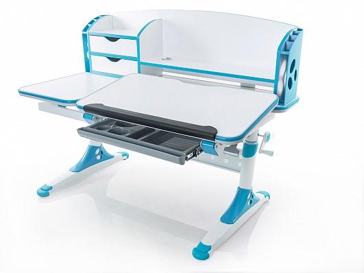 Masa de birou cu etajera Bologna Ergodesk, White / Blue, L120xl67,5h58 cm