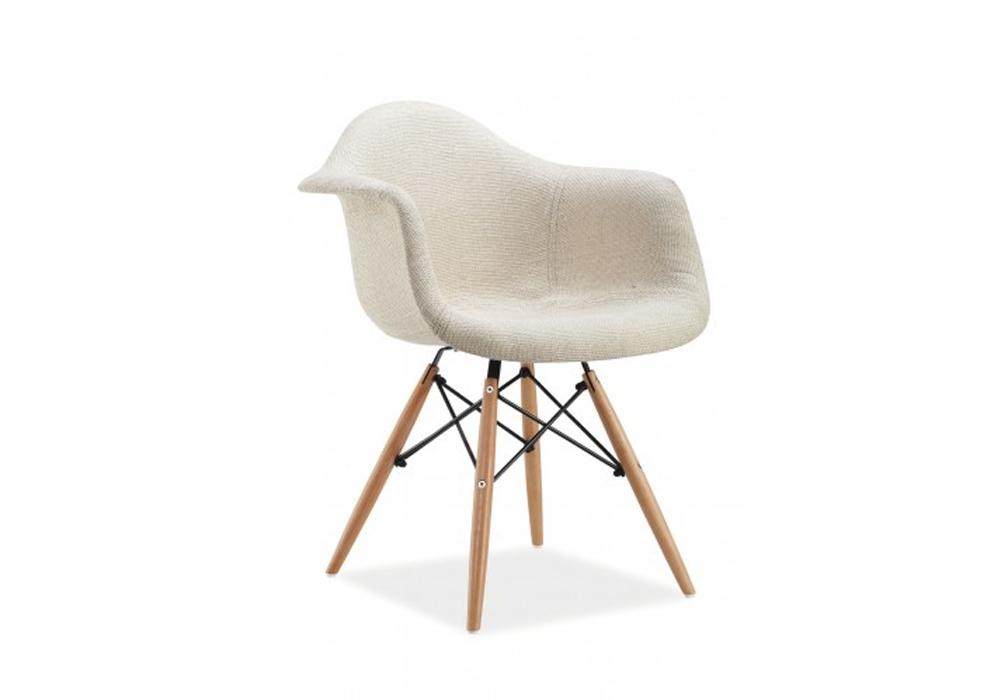 Scaun tapitat cu stofa, cu picioare din lemn Bono Cream, l63xA46xH80 cm imagine