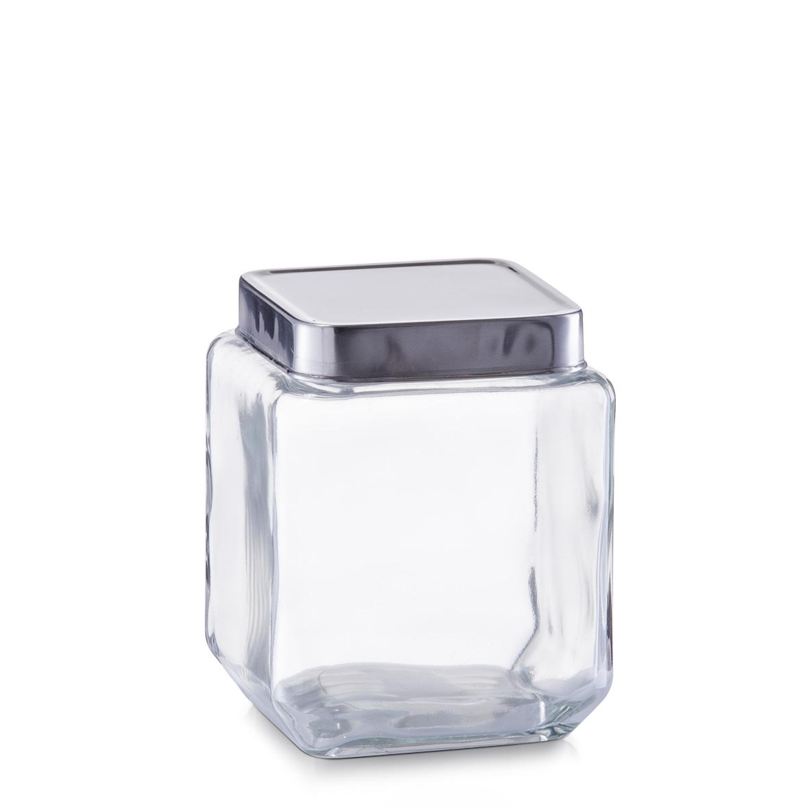 Borcan pentru depozitare Box, capac inox, Glass 1100 ml, l11xA11xH14 cm somproduct.ro