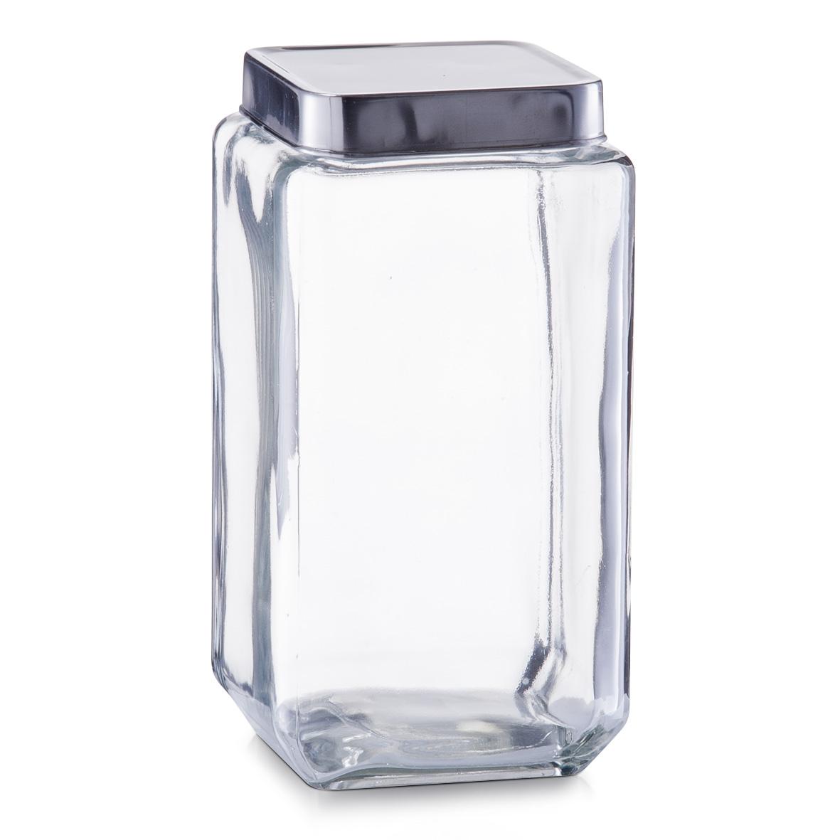 Borcan pentru depozitare Box, capac inox, Glass 2000 ml, l11xA11xH22,2 cm poza