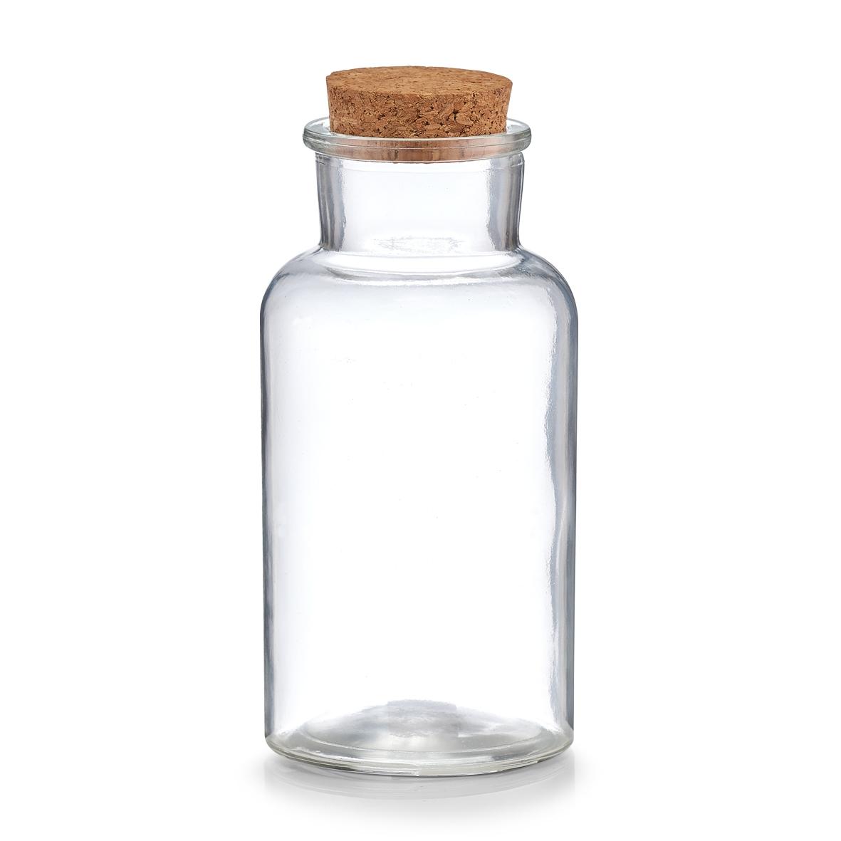 Borcan pentru depozitare cu capac din pluta, Glass, 500 ml, Ø 8xH17,5 cm imagine