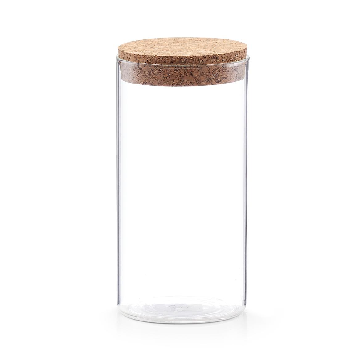 Borcan pentru depozitare cu capac din pluta, Glass B, 550 ml, Ø 7,5xH16 cm imagine