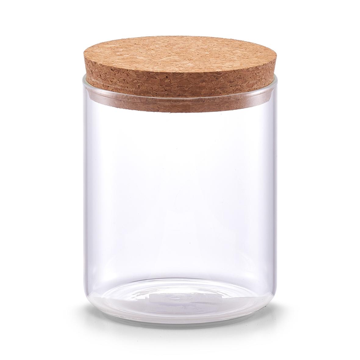 Borcan pentru depozitare cu capac din pluta Transparent Glass A 650 ml O 95xH125 cm