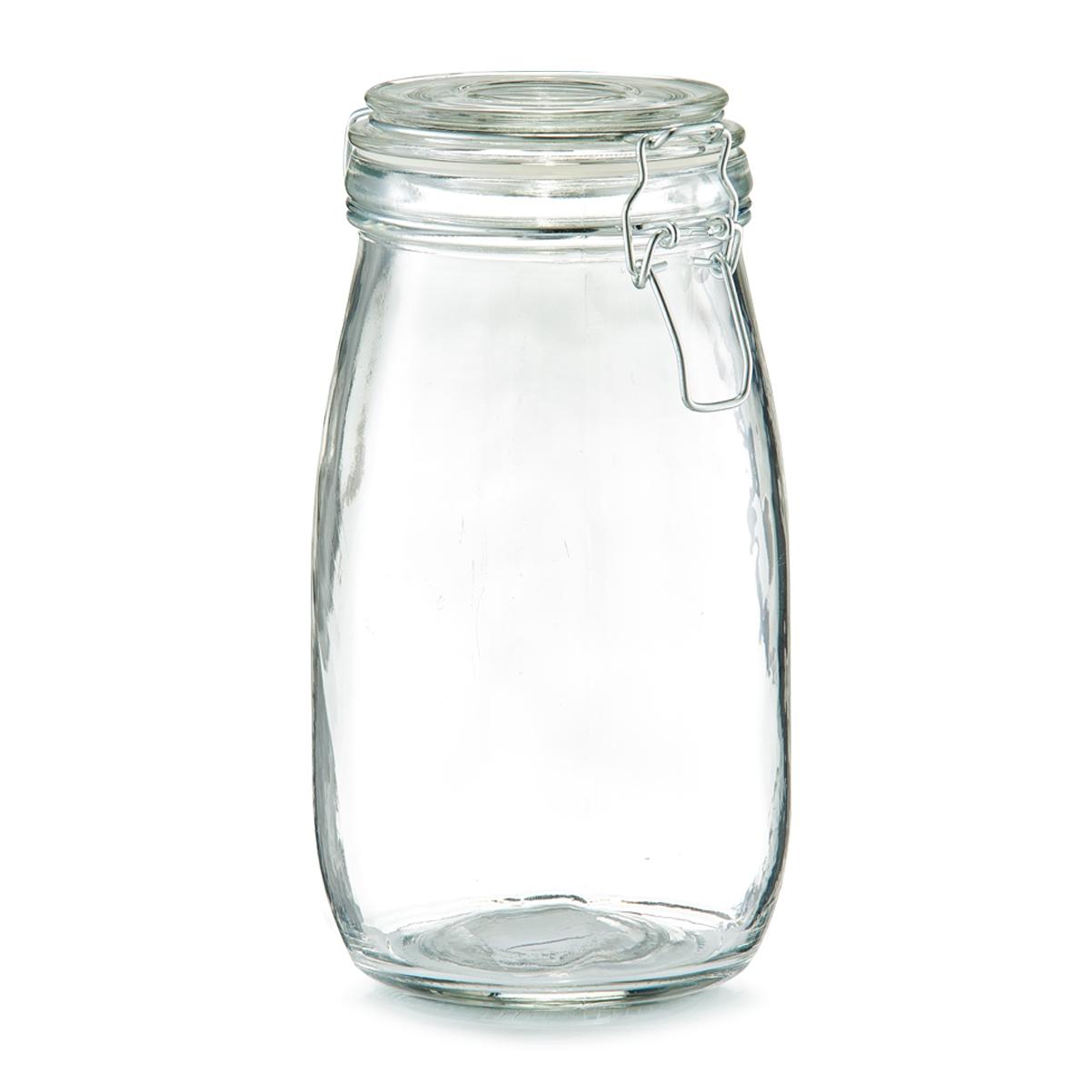 Borcan pentru depozitare cu capac, inchidere ermetica, Clip III Glass, 1450 ml, Ø 11xH22 cm poza