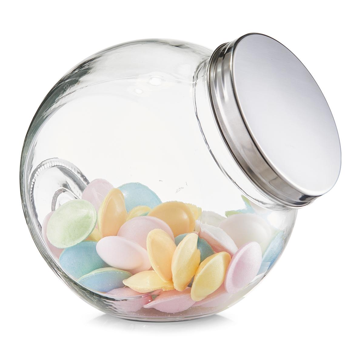 Borcan pentru depozitare din sticla Candy, capac metalic, 2900 ml, l19xA13,5xH19 cm