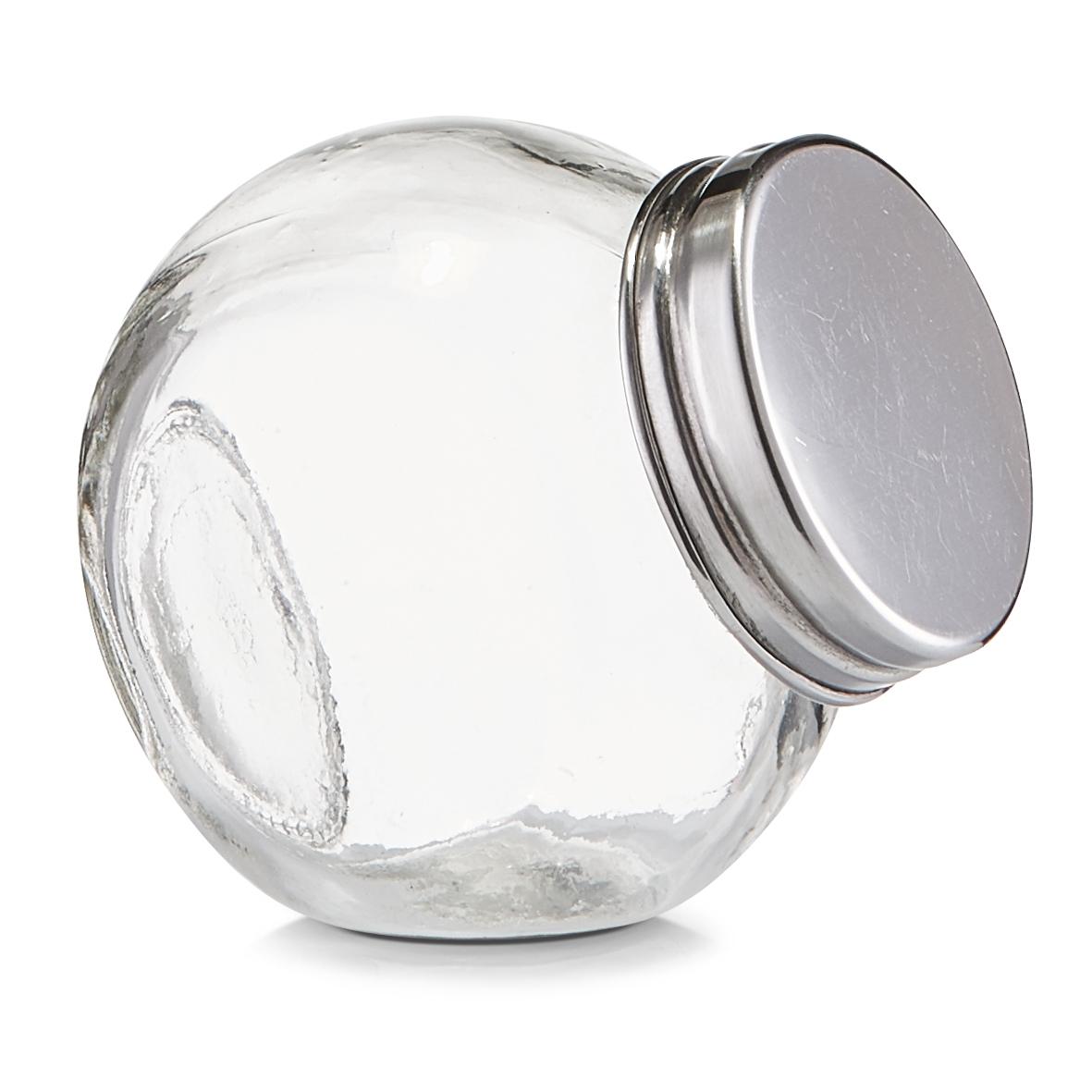Borcan pentru depozitare din sticla Candy, capac metalic, 80 ml, l6,5xA5xH6,5 cm( 473454)