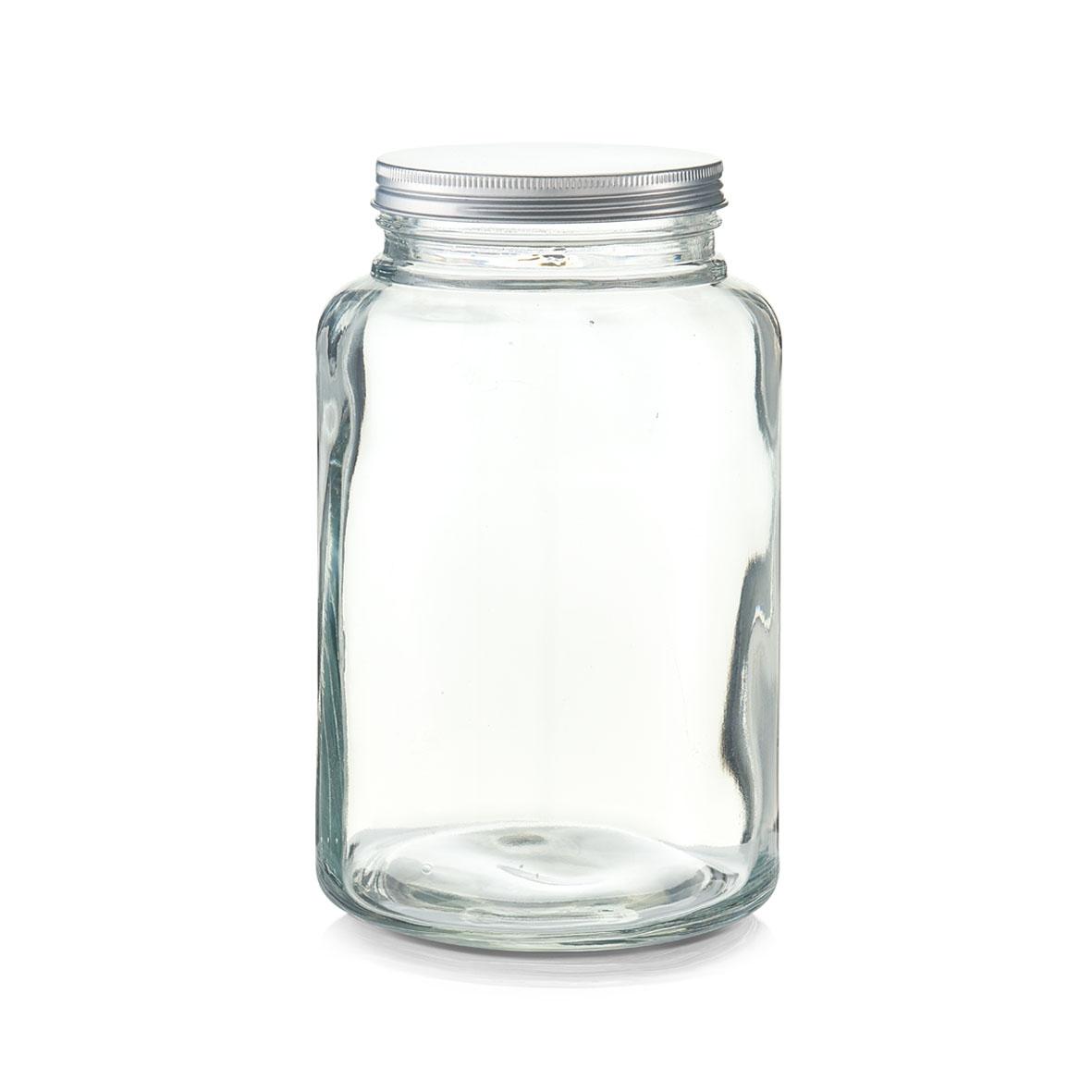 Borcan pentru depozitare din sticla, capac metalic, 4900 ml, Ø 17,2xH27,8 cm