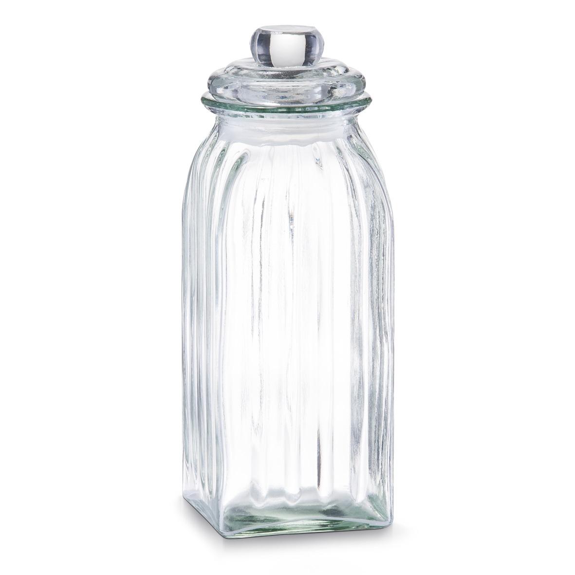 Borcan pentru depozitare din sticla Square, capac etans, 1500 ml, l10,5xA10,5xH28,5 cm
