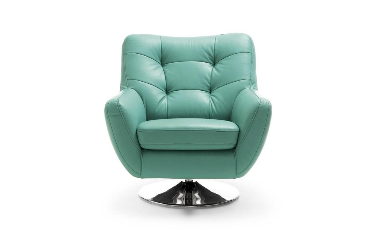 Fotoliu tapitat cu piele ecologica cu picior din metal Boss Turquoise l86xA90xH92 cm