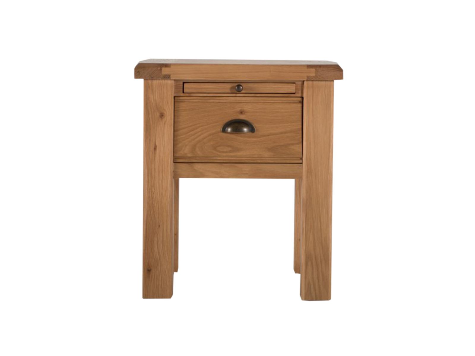 Noptiera din lemn de stejar si furnir cu 1 sertar Breeze Oak l48xA45xH55 cm