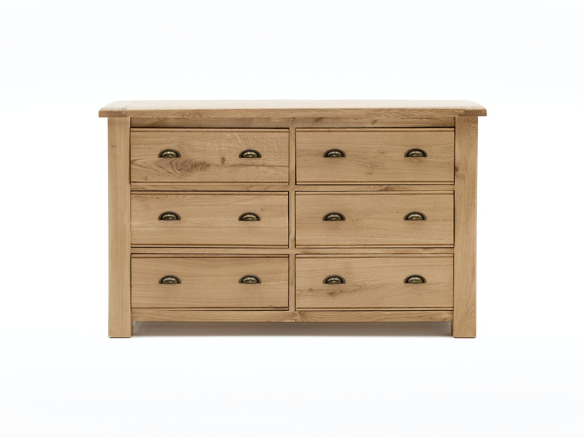 Comoda din lemn de stejar si furnir cu 6 sertare Breeze Oak l135xA45xH83 cm