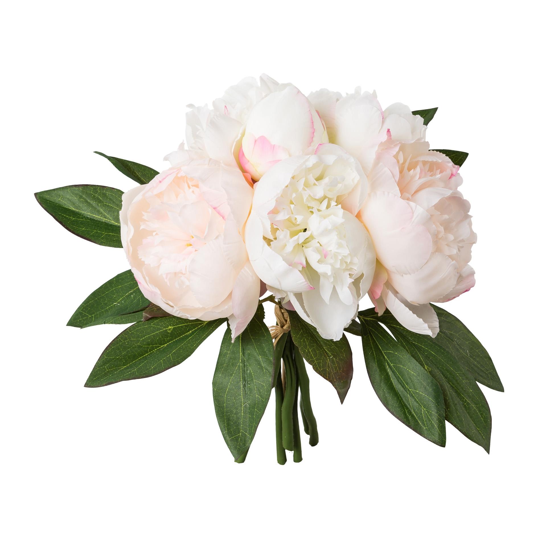 Buchet flori artificiale Peonia Roz deschis, 32 cm imagine