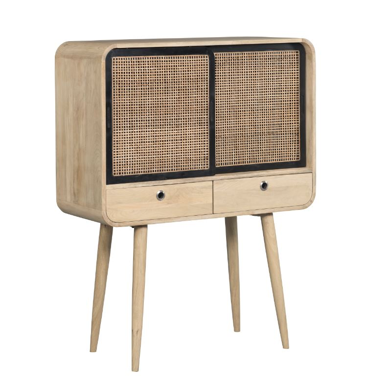 Cabinet din lemn cu 2 sertare si 2 usi culisante Canne Contemporain Natural  l95xA40xH125 cm