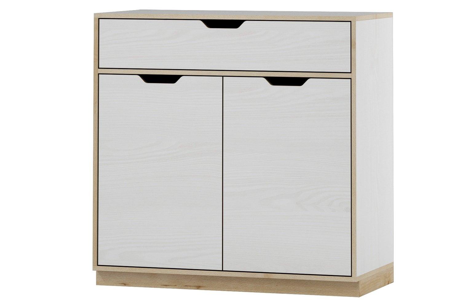Cabinet din pal cu 1 sertar si 2 usi Happy 10 White / Beech l89xA41xH88 cm