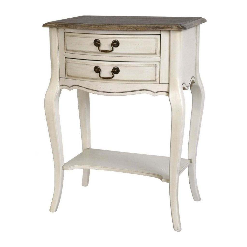 Cabinet din lemn de cauciuc si furnir, cu 2 sertare Limena LI806 Ivory / Light Brown, l55xA39xH76 cm