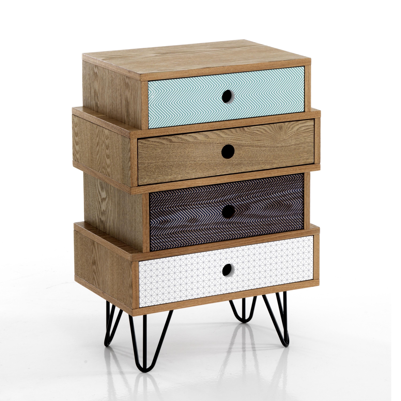 Cabinet din MDF cu 4 sertare Hijo Multicolour l45xA295xH65 cm
