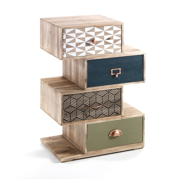 Cabinet din lemn de brad cu 4 sertare Kijo-X Multicolour l50xA34xH725 cm