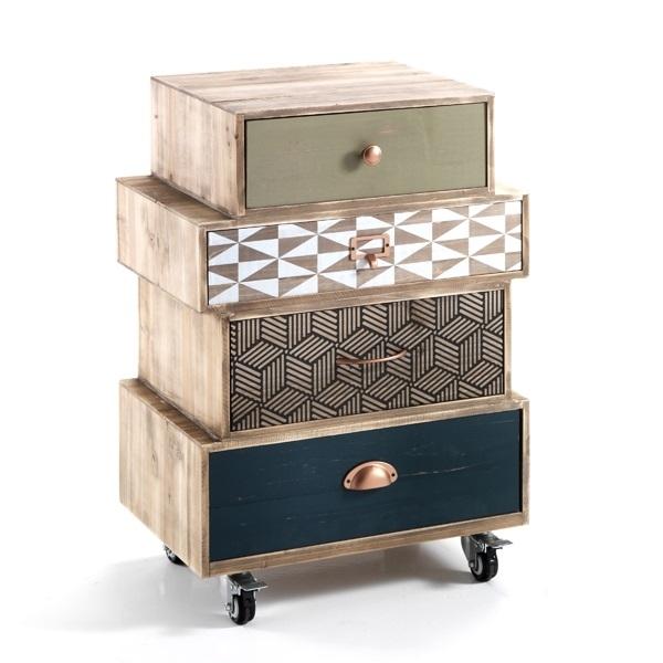 Cabinet din lemn de brad cu 4 sertare pe rotile Kijo-C Multicolour l50xA34xH705 cm