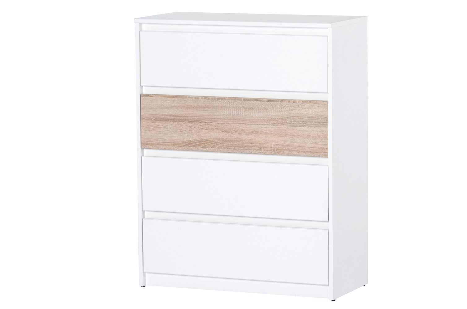 Cabinet din pal cu 4 sertare Venetia 07 White / Sonoma Oak l80xA38xH104 cm