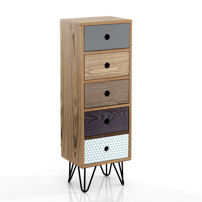 Cabinet din MDF cu 5 sertare Hijo Multicolour l30xA25xH90 cm