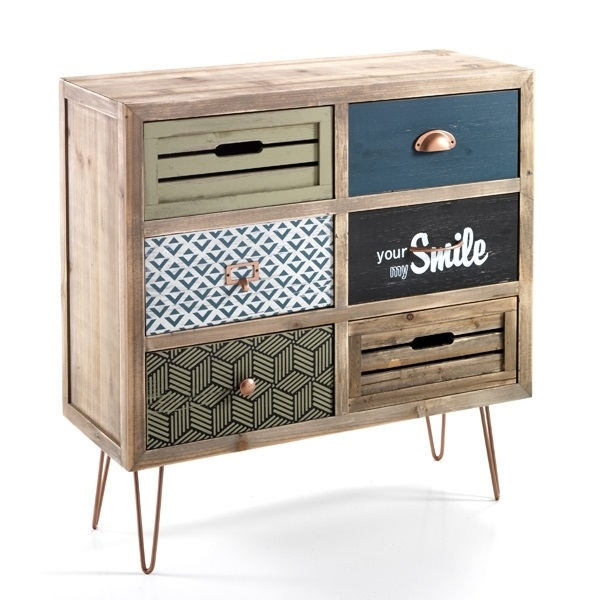 Cabinet din lemn de brad cu 6 sertare Kijo-C Multicolour l765xA30xH77 cm