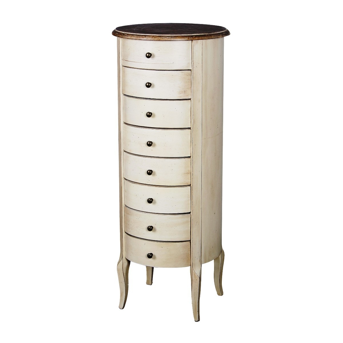 Cabinet din lemn de cauciuc si furnir, cu 8 sertare Limena LI838 Ivory / Light Brown, l40xA40xH98 cm imagine
