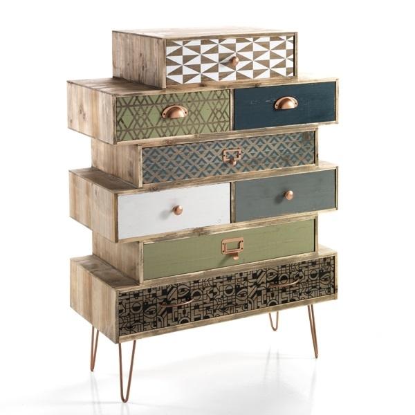 Cabinet din lemn de brad cu 8 sertare Kijo-C Multicolour l75xA34xH805 cm
