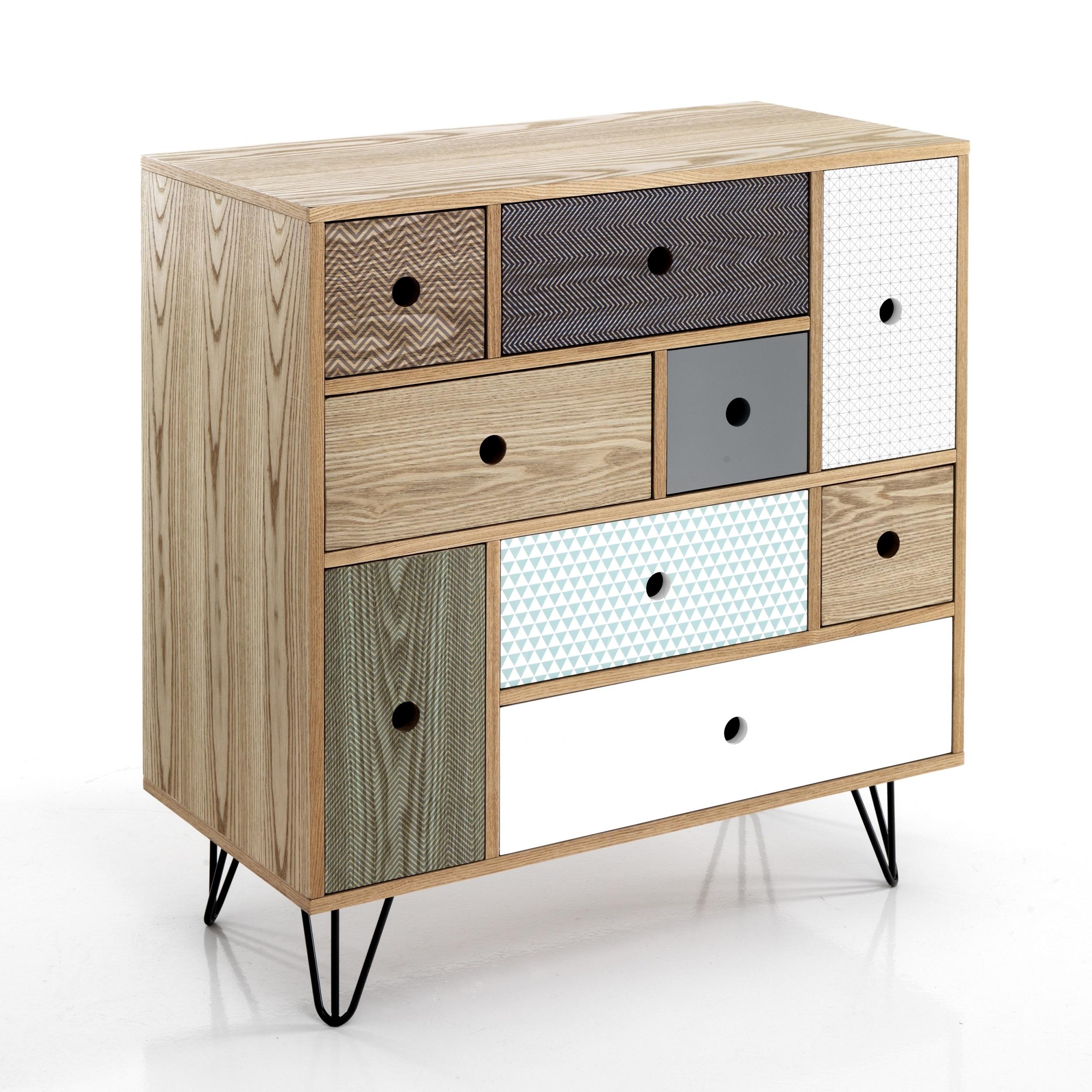 Cabinet din MDF cu 9 sertare Hijo Multicolour l80xA40xH85 cm