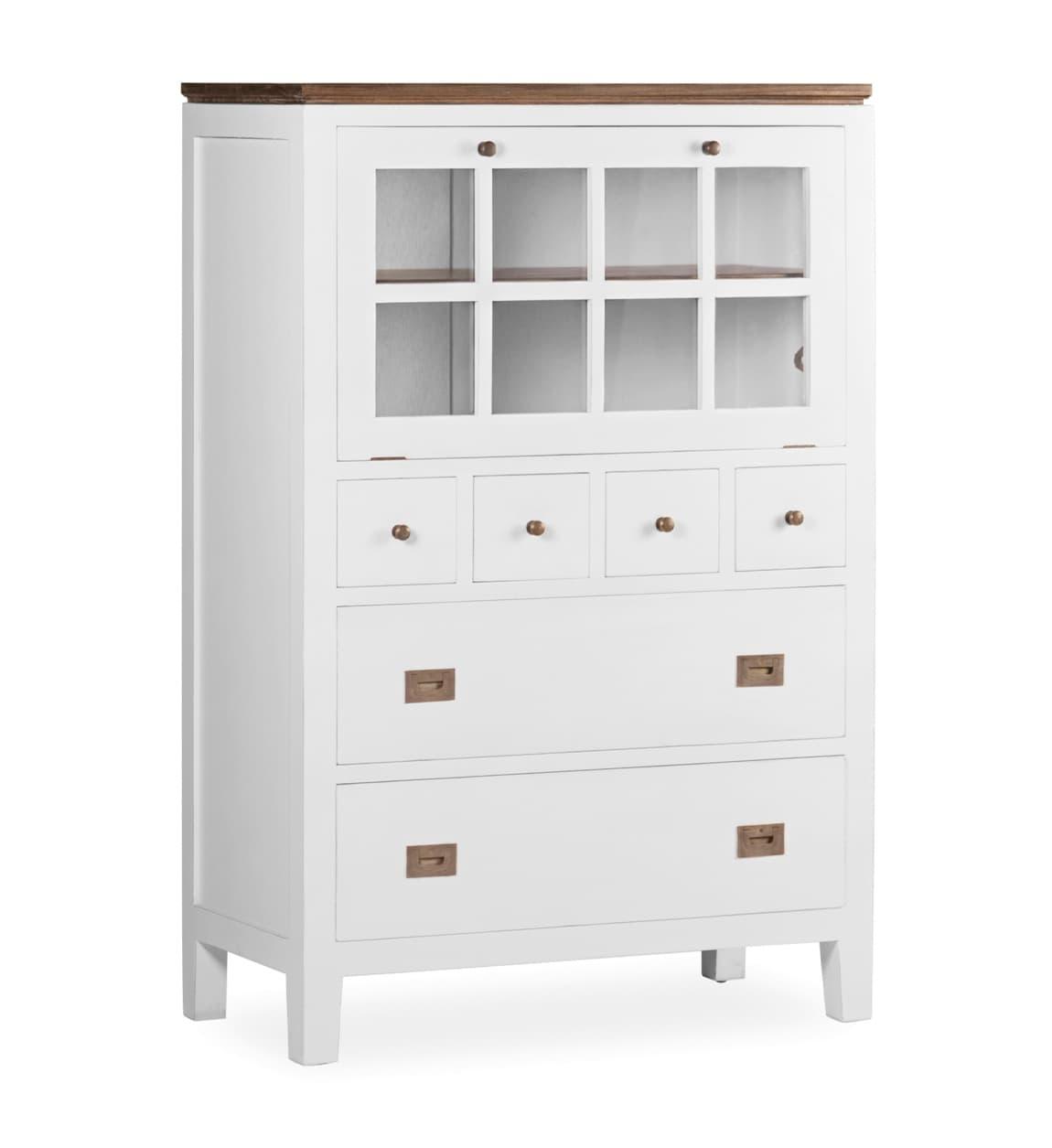 Cabinet cu vitrina din lemn, cu 6 sertare si 1 usa, Everest Big Alb / Maro, l90xA45xH135 cm somproduct.ro