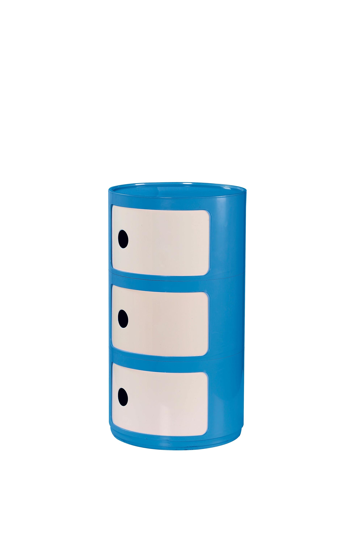 Cabinet din ABS cu 3 sertare, pentru copii Alf Albastru / Alb, Ø34xH61 cm