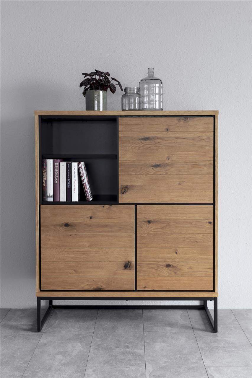 Cabinet din furnir si metal, cu 3 usi Dalarna Stejar / Negru, l102,2xA45xH124,7 cm