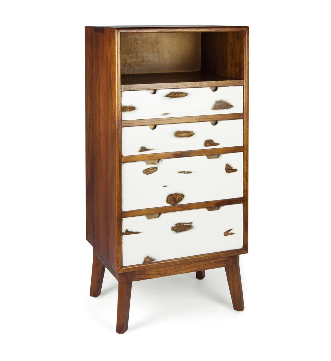Cabinet din lemn cu 4 sertare, Nordic Nuc / Alb, l60xA45xH125 cm somproduct.ro