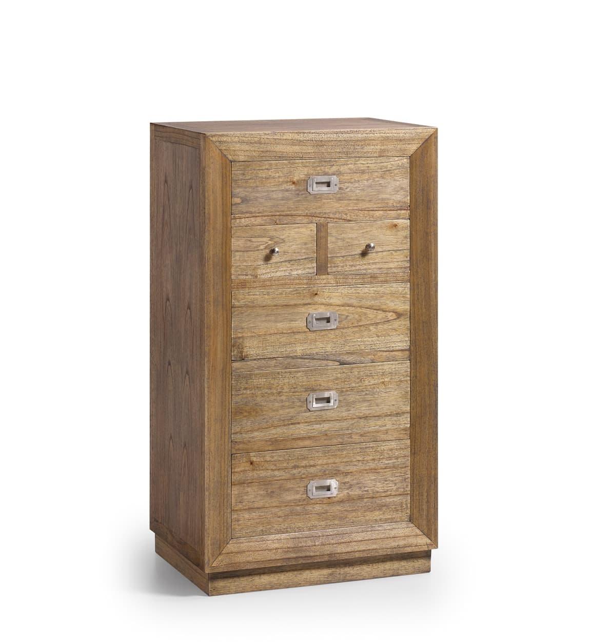 Cabinet din lemn cu 6 sertare, Merapi Natural, l60xA45xH110 cm somproduct.ro