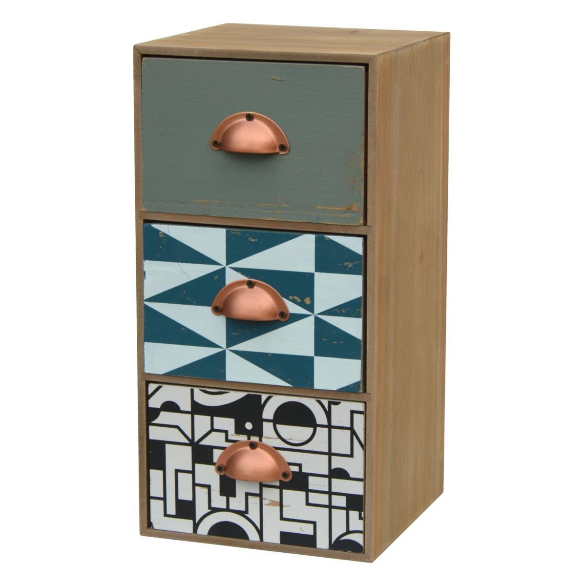 Cabinet din lemn de brad si furnir, cu 3 sertare Portofino F032 Multicolour, l15xA15xH30 cm
