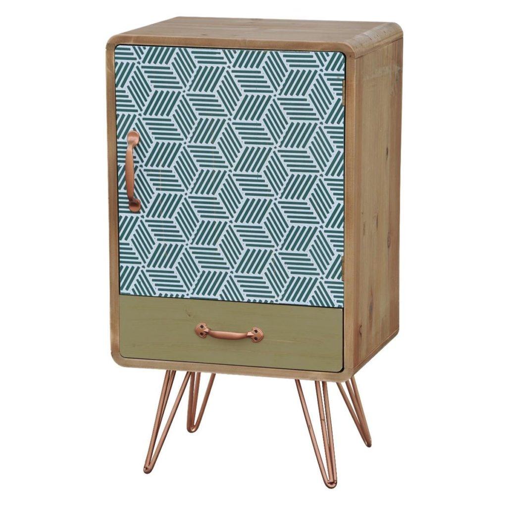 Cabinet din lemn de brad si furnir, cu 1 sertar si 1 usa Portofino F047 Multicolour, l40xA30xH71 cm imagine