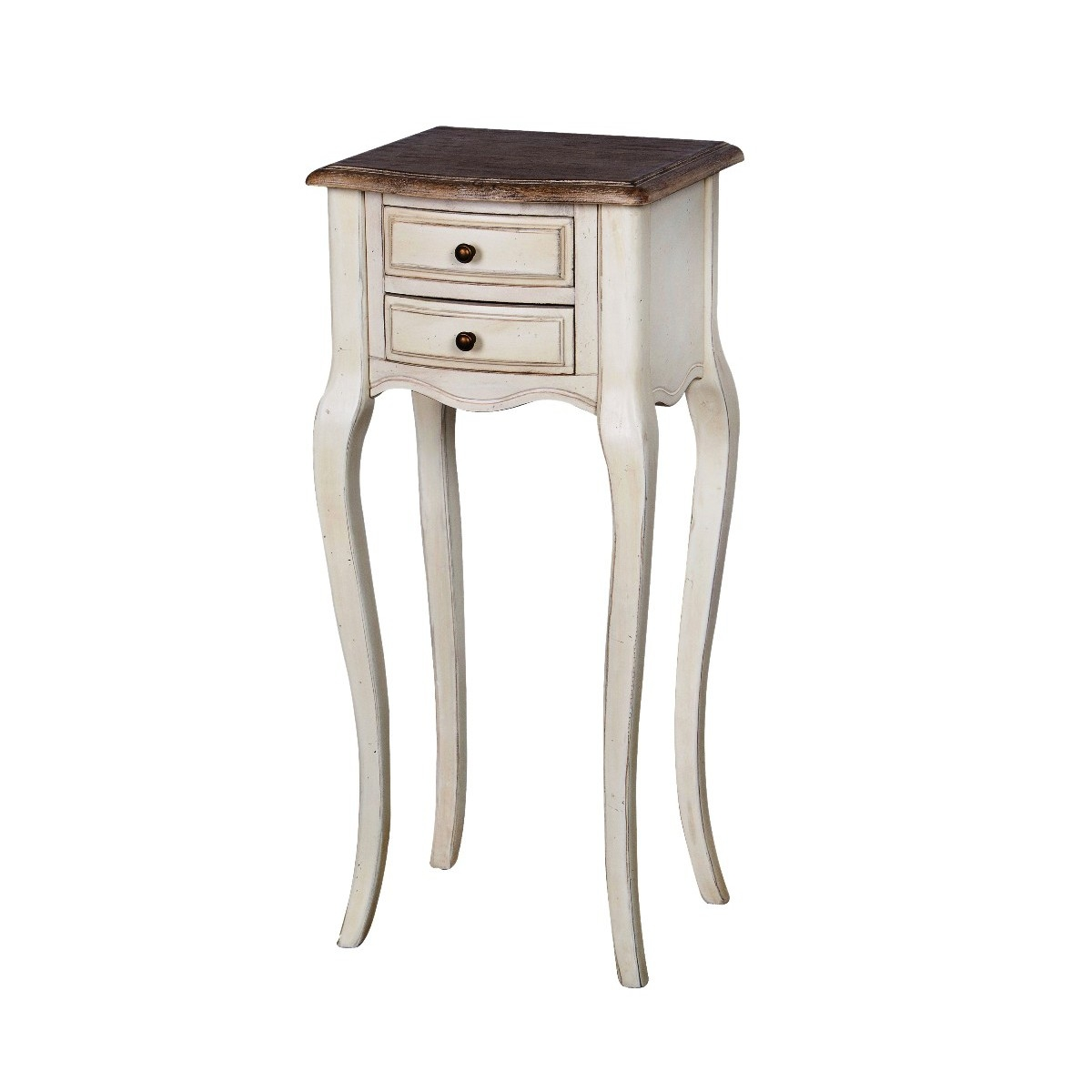 Cabinet din lemn de cauciuc si furnir, cu 2 sertare Limena LI825 Ivory / Light Brown, l34xA30xH76 cm imagine