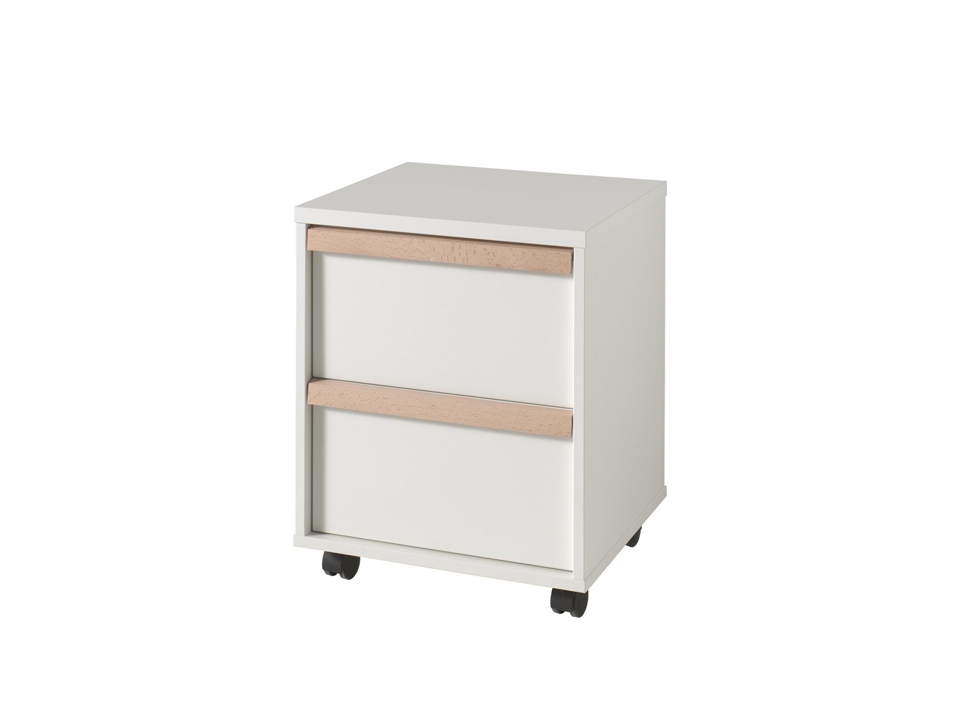 Cabinet din lemn de fag si pal, pe rotile cu 2 sertare pentru copii London Alb / Natural, l48,1xA44xH60 cm