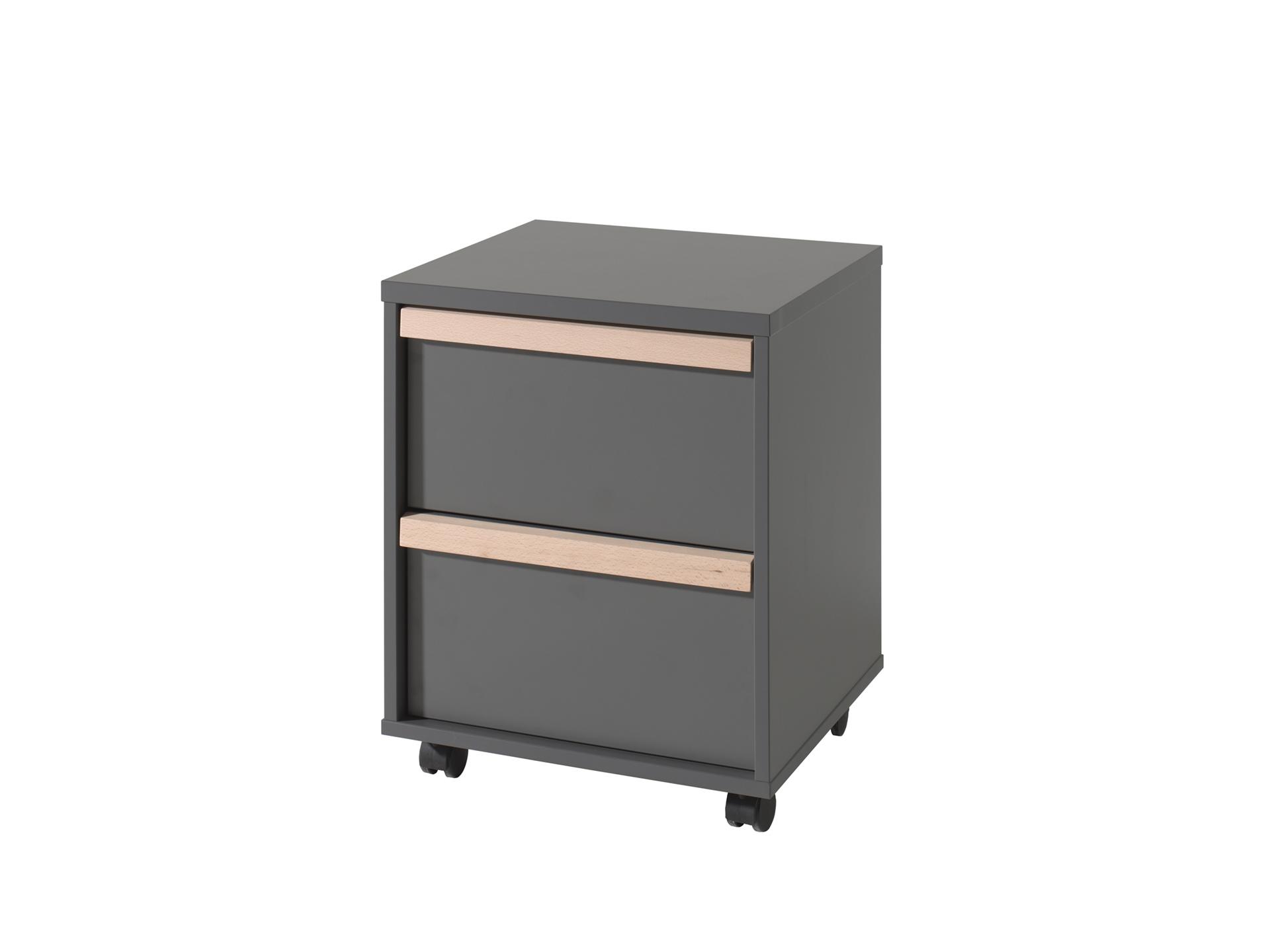 Cabinet din lemn de fag si pal, pe rotile cu 2 sertare pentru copii London Antracit / Natural, l48,1xA44xH60 cm poza
