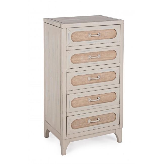Cabinet din lemn de Paulownia si MDF cu 5 sertare Edison Ivoir l48xA35xH98 cm