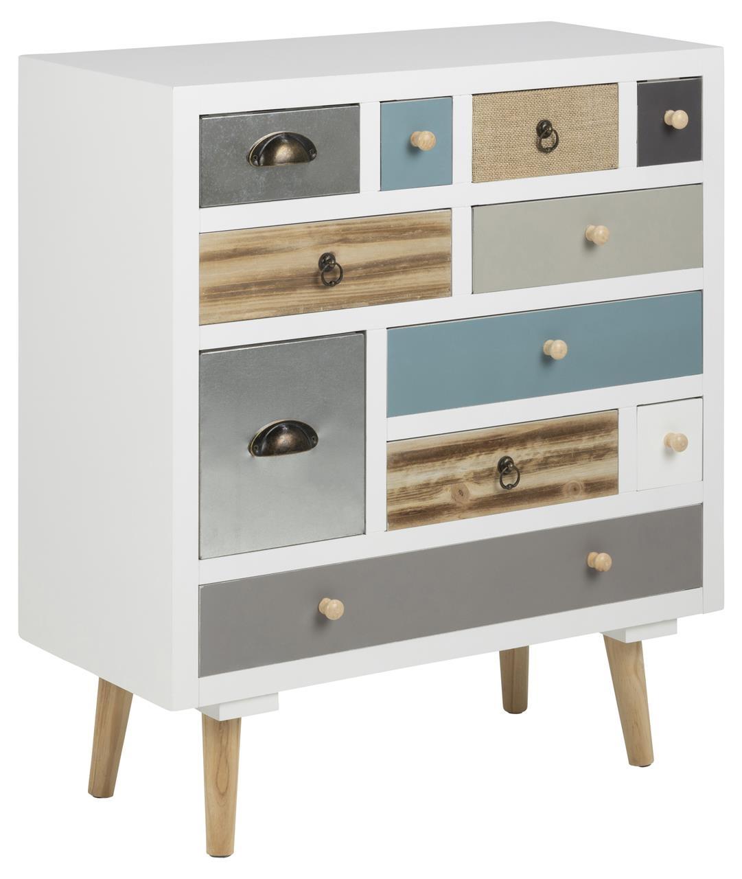 Cabinet din lemn si MDF, cu 11 sertare Thais Multicolor, l70xA32xH81 cm