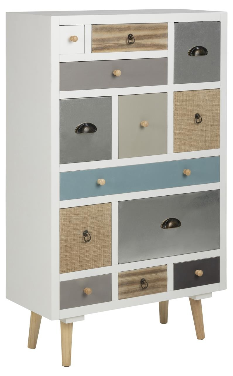Cabinet din lemn si MDF, cu 13 sertare Thais Multicolor, l70xA30xH114 cm