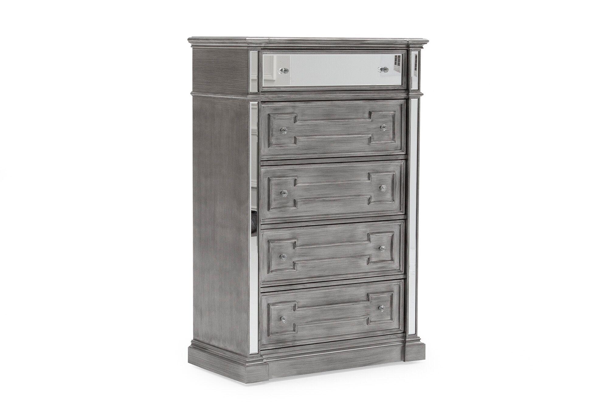 Cabinet din lemn de pin si MDF cu 5 sertare Ophelia Silver l915xA483xH1397 cm
