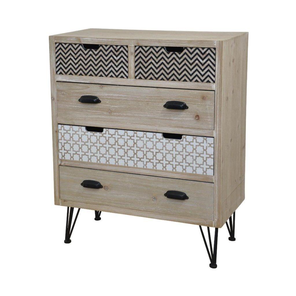 Cabinet din lemn de plop si MDF, cu 5 sertare Loano LO018 Light Brown, l68xA36xH83 cm