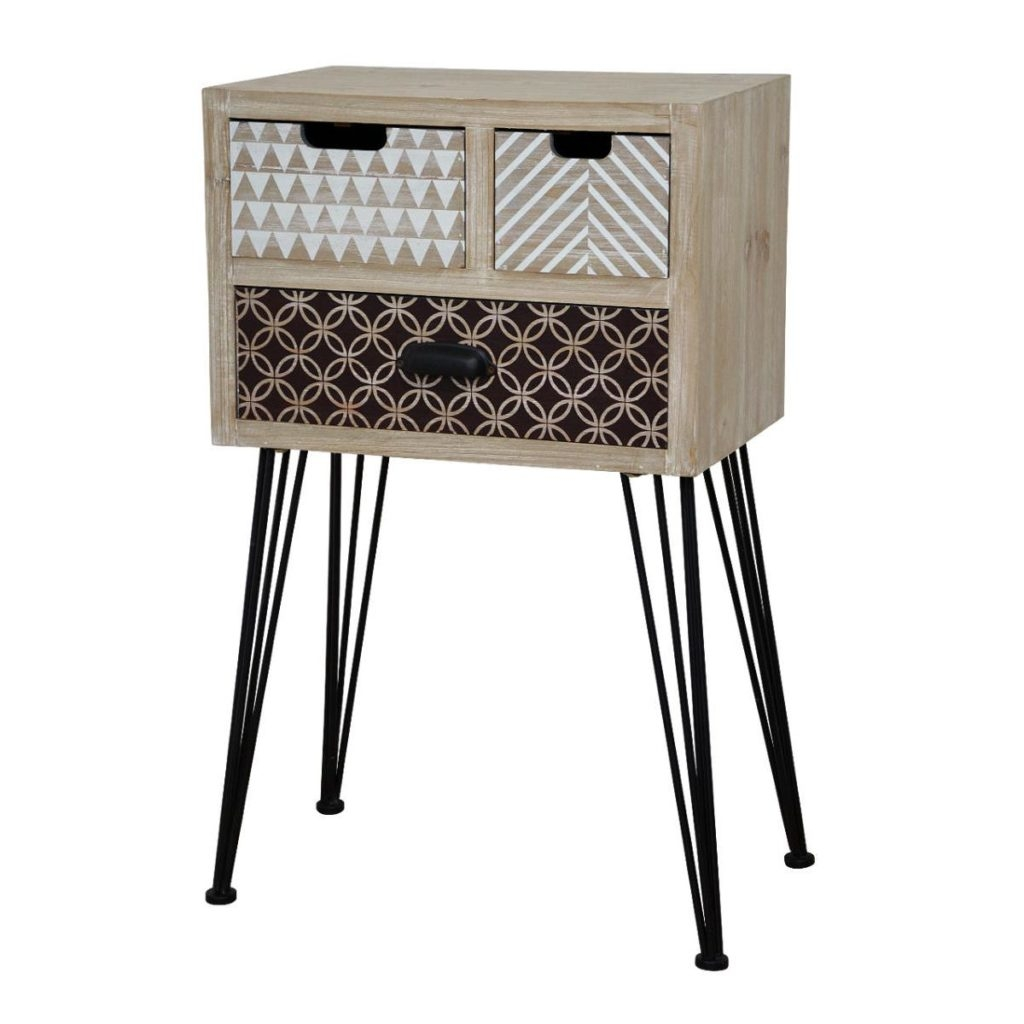 Cabinet din lemn de plop si MDF cu 3 sertare Loano LO021 Light Brown l45xA30xH74 cm