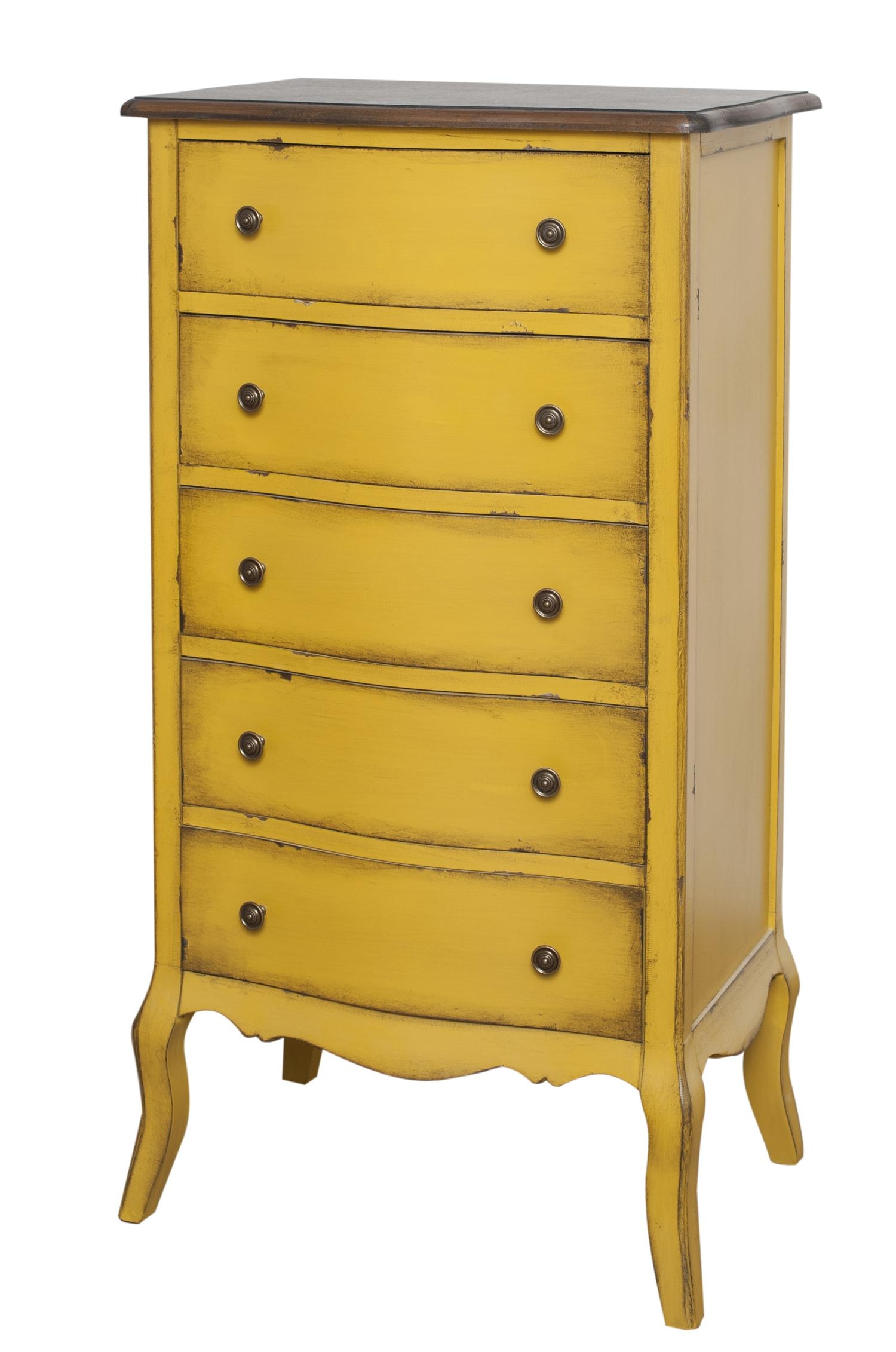Cabinet din lemn de plop, furnir si MDF, cu 5 sertare Mellow High Yellow / Brown, l61xA42xH112 cm